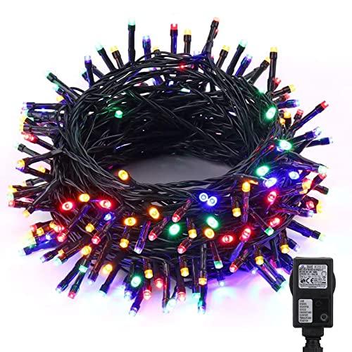 NEXVIN Luci Albero di Natale, Catena luminosa 25M 200 LED, Luci di Natale con 8 Modo di Lampeggiata, Funzione Timer, Filo verde scuro, Luci Natalizie da Esterno ed Interno, Luci Colorate