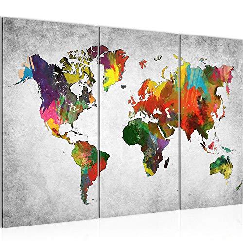 Bilder Weltkarte World Map Wandbild 120 x 80 cm Vlies - Leinwand Bild XXL Format Wandbilder Wohnzimmer Wohnung Deko Kunstdrucke Bunt 3 Teilig - MADE IN GERMANY - Fertig zum Aufhängen 105131c