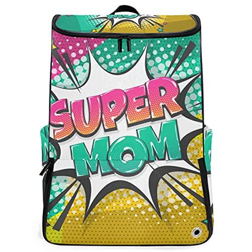 YUDILINSA Zaini da viaggio,Super Mom Mother Day Wow Comic,grande capacità,borsa per studenti Scuola,escursionismo,zaino da palestra con scomparto per scarpe