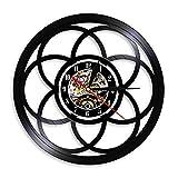 Flor de la Vida Diseño geométrico Moderno Reloj Colgante de Pared Geometría Decoración para el hogar Semilla de la Vida Retro Vinyl Record Reloj de Pared