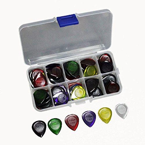 Floridivy 40pcs Duurzaam Clear akoestisch elektrische gitaar Picks Plectra 1,0 2,0 3,0 mm + Case