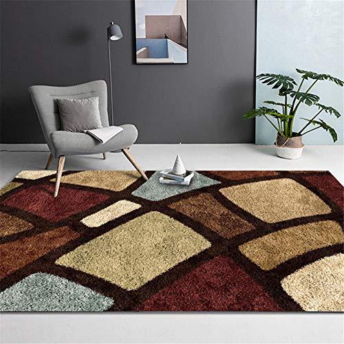 RUGMYW Teppich Verhindern Sie Allergien teppiche Teppich groß verschleißfest und langlebig Decor Zimmers Teppichboden Geometrisches Muster beige rotbraun grün tepiche für Wohnzimmer 200X250cm