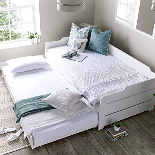 Guest Bed and Trundle, Happy Beds Copella White Wooden Daybed - 3ft Single (90 x 190 cm) Frame Only