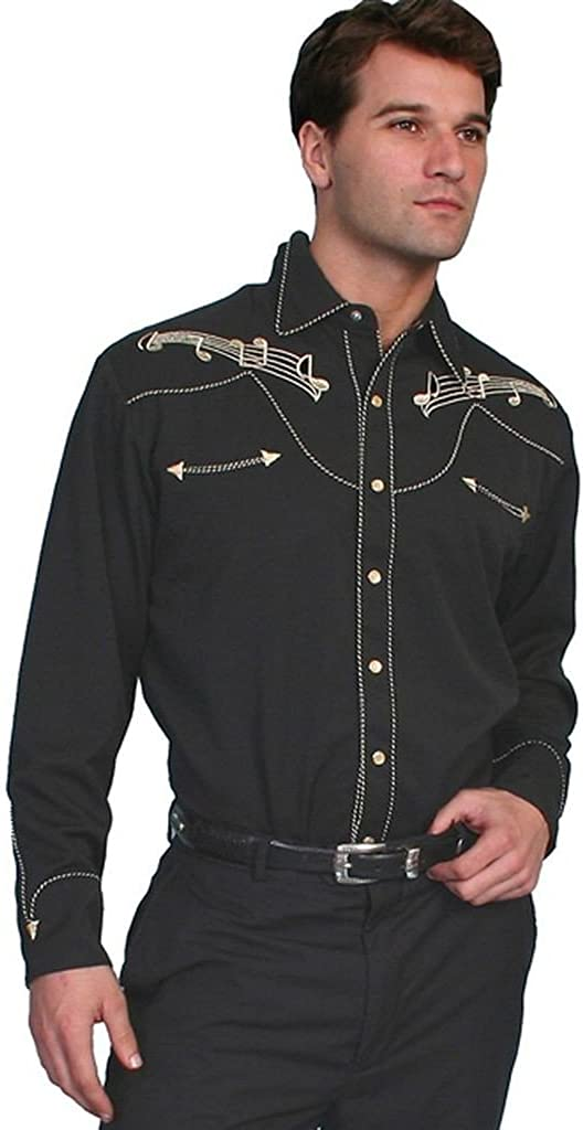 Scully Men's Music Note Embroidered Retro Western Shirt Big and Tall