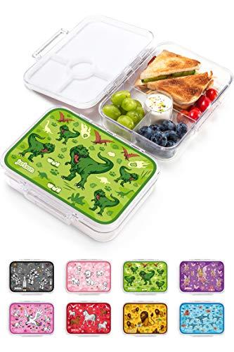 JARLSON Brotdose für Kinder mit 4 Fächern - Lunchbox aus Tritan - Bento Box auslaufsicher – Jausenbox für Kindergarten und Schule - Mädchen und Jungen - 850ml (Dinosaurier)