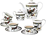 Juego de té de cerámica de té inglés de la tarde de té de cerámica con marco de metal, juego de café utilizado para...