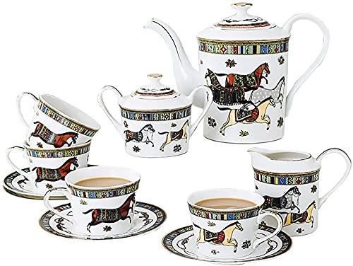 Juego de té de cerámica de té inglés de la tarde de té de cerámica con marco de metal, juego de café utilizado para regalos/boda/hogar y oficina