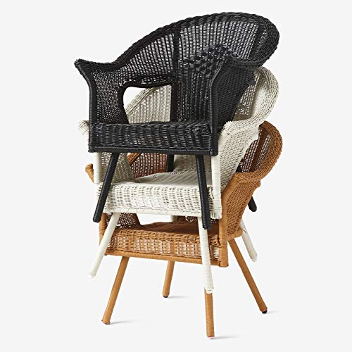 BrylaneHome Roma All-Weather Wicker Stacking Chair w/Free Seat & Back Cushions