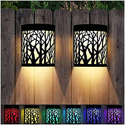 DenicMic Solar Wall Lights Outdoor Fence Solar Lights for Deck Patio Stairs Step Backyard LED Forest Night Lights, Waterproof, Warm White/Color Changing (2 Pack)
