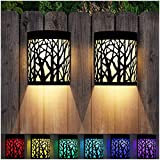 DenicMic Solar Wall Lights Outdoor Solar Fence Lights for Deck Patio Front Door Yard Stairs Led Forest Lamps Decorative Lighting, Waterproof, Warm White/Color Changing (2 Pack)