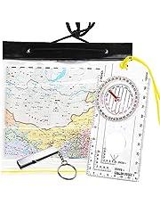 Kompas Oriënteering, Clear Navigatie Kompas voor Explorer Expeditie Camping, Wandelen, Survival Bergbeklimmen met Waterdichte Kaart Case Tas en Noodfluitje