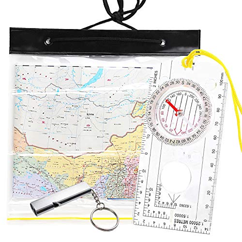 Kompass Outdoor, Kartenkompass für Survival, Orientierung, Navigation, Backpacking, Camping Wandern Expedition mit wasserdichte Kartentasche und Notfallpfeife Kompass, Kompass Kinder