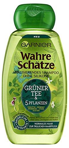 Garnier Wahre Schätze Grüner Tee & 5 Pflanzen Vitalisierendes Shampoo, reinigt sanft Haar und Kopfhaut, erfrischend, 6er-Pack (6 x 250 ml)
