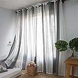ZHOUBA Cortinas modernas de decoración a rayas para ventana, panel de perforación, decoración de dormitorio, decoración de puerta, regalo – gris+blanco