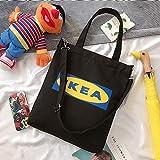 Neue Art und Weise Damen Handtaschen Brief Print Cloth Leinwand-Tasche Baumwolle Einkaufen Reisen Frauen Eco Reusable-Schulter-Einkaufstasche (Color : Black IKEA)