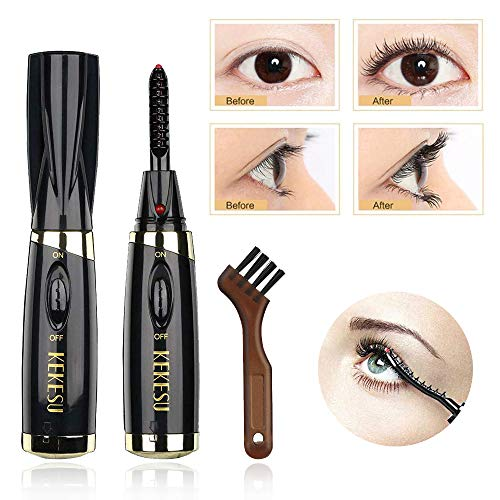 Electric Heated Eyelash Curler Long Lasting Curled - Miyshow Fast Heated Eyelash Curler Portable Electric Eyelash Curler Brush (Black)