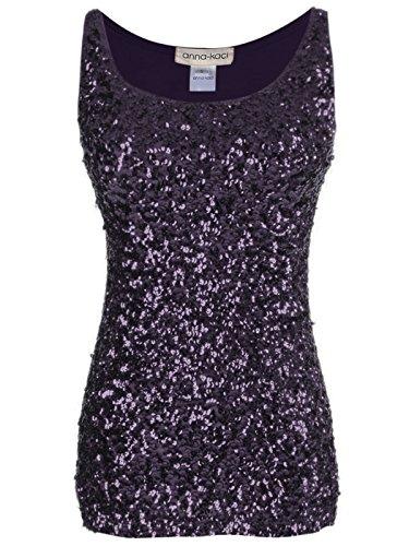 Anna-Kaci Womens Sparkle & Shine Glitter Sequin Embellished Sleeveless Round Neck Tank Top, Purple, Large