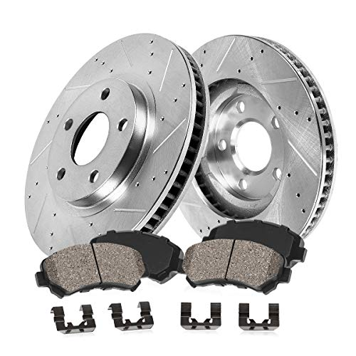 Callahan CDS02459 FRONT 324mm D/S 5 Lug [2] Rotors + Ceramic Brake Pads + Clips [fit BMW 525 525xi 528i 530i 535i 535xi]