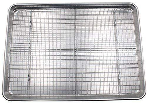 N\C Juego de Bandeja y Bandeja para Hornear: Bandeja de Aluminio para Galletas/Bandeja de Media Hoja para Hornear con Parrilla de enfriamiento Segura para Horno de Acero Inoxidable