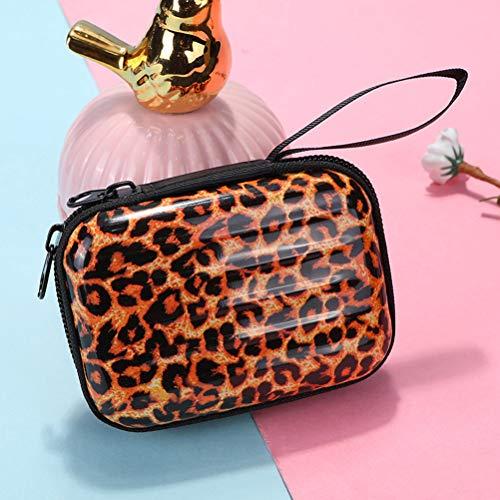 1 mini maleta con forma de hojalata, bolsa cuadrada de leopardo, bolsa de almacenamiento para tarjetas de crédito, tarjetas de identificación, llaves, auriculares, lápiz labial