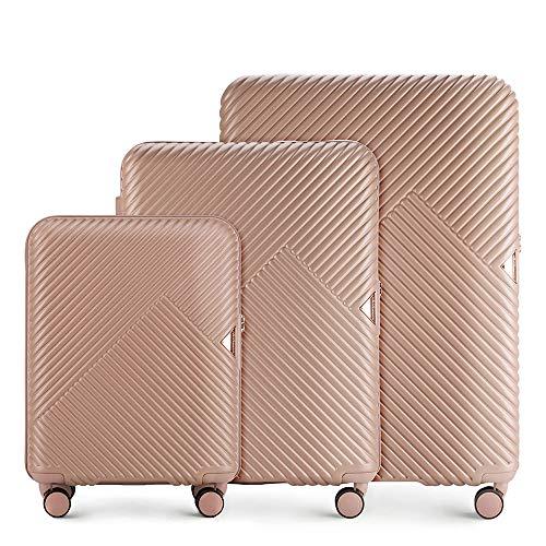 WITTCHEN Koffer – Set of 3   hartschalen, Material: polycarbonat   hochwertiger und Stabiler   Rosa   Verschiedene Größen