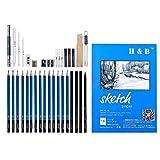 Milageto Pro Sketching Pencil Set Grafito Carboncillo Lápiz Kit de Herramientas de Dibujo Art Set