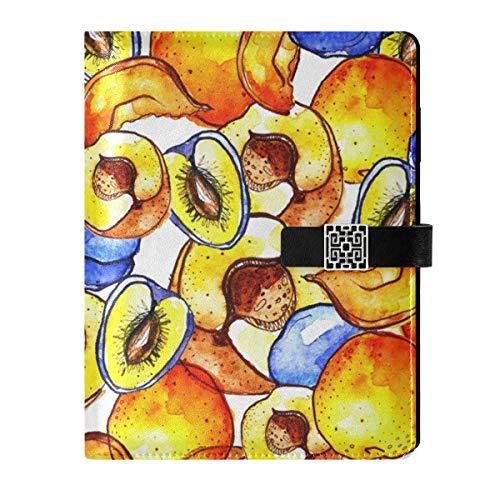 Cuaderno de notas de cuero para escribir diario, cuaderno de viaje, frutas, ciruelas, melocotones, rellenable, tamaño A5, cuaderno de tapa dura, regalo para mujeres y hombres