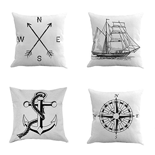 Leaveland Compass Arrow Ship Anchor Set of 4 18x18 Inch Cotton Linen Square Throw Pillow Case Decorative Durable Cushion Slipcover Home Decor Sofa Standard Size Accent Pillowcase