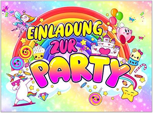 VULAVA 12x EINLADUNGSKARTEN für Party und Kindergeburtstag - die Karten im frech bunten Einhorn Design sind die perfekte EINLADUNG für Mädchen Jungen Kinder zum Geburtstag Einschulung und KINDERPARTY