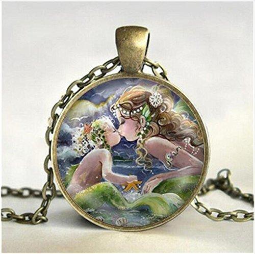 Collar con colgante con diseño de sirena besando al bebé, joyería de cristal, regalos para ella o hija madre e hija