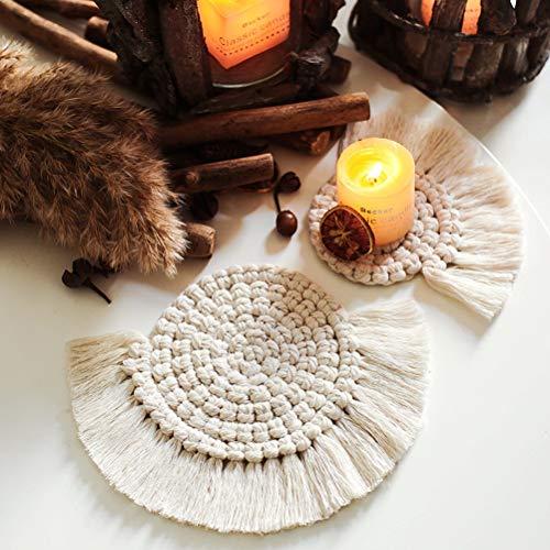 Calayu handgemaakte macramé onderzetter, geweven katoenen touwonderzetters met kwast, verdikte isolatiepads, decoratieve onderzetters 2 stuks