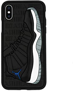 iPhone X 手机壳,Jordan 11s 3D 纹理运动鞋防震保护抓握手机壳 Iphone X/XS Space Jams (Blue)