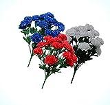 Artificial 42 Carnations 3-20' Bushes USA Patriotic Silk Flower Red White Blue Flowers Bouquet Realistic Flower Arrangements Craft Art Decor Plant for Party Home Wedding Decoration