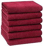 ZOLLNER Juego de 6 Toallas de Mano, Rojo, 50x100 cm, algodón