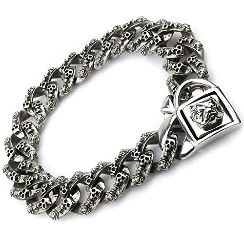 Bully Dog Collar 32mm Stainless Steel Gold Chain Big Dog Pitbull Bulldog French Necklace Customized Quality Strong Pet Collar-32mm Skull Silver_2XL 32mmX60cm