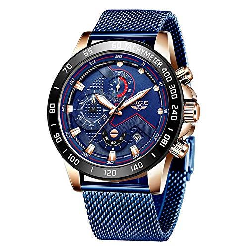 LIGE Herren Edelstahl Chronograph Wasserdicht Sport Analog Quarz Uhr Männer Mesh Band Datum Mode Casual Armbanduhren Rose Gold Blau