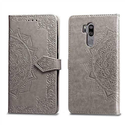 Bear Village Hülle für LG G7 / LG G7 ThinQ, PU Lederhülle Handyhülle für LG G7 / LG G7 ThinQ, Brieftasche Kratzfestes Magnet Handytasche mit Kartenfach, Grau