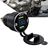 StarknightMT Motorcycle DIN Hella Powerlet Plug Charger to Dual Quick Charge 3.0 USB Charger Cigarette Lighter Adapte with LED Voltmeter For BMW Triumph Tiger Ducati Motorcycle