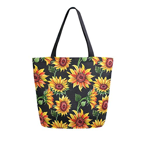 Naanle Floral Sunflower Canvas Tote Bag Large Women Casual Shoulder Bag Handbag, Watercolor Sunflower Reusable Multipurpose Heavy Duty Shopping Grocery Cotton Bag for Outdoors.
