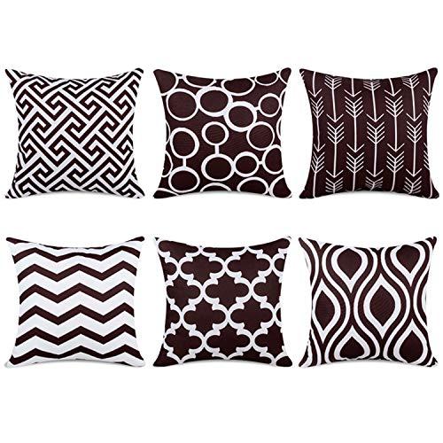 Topfinel 6er Set Kissenbezüge 40x40 cm Qualitäts Kissenhüllen in Segeltuch mit Geometrischen Mustern für Sofa Auto Terrasse Zierkissenbezüge Pfeil Dunkelbraun und Weiß