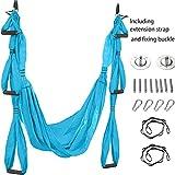 ADM6 Yoga antigravedad Hamaca paracaídas de Tela no elástica 6 Mango Yoga aérea Hamaca de Fitness,Azul,Full Set