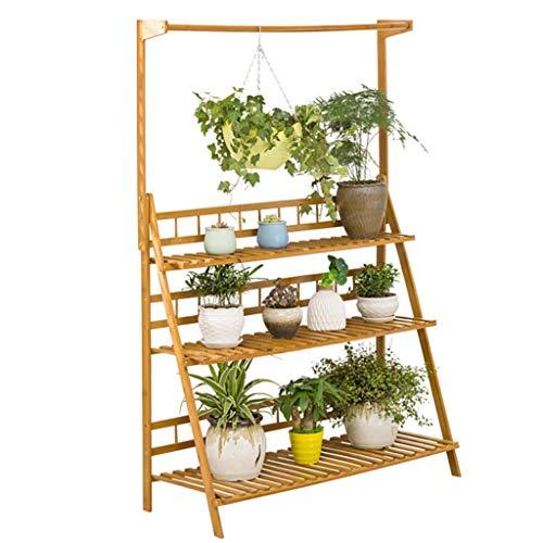 FZN Bamboo Hanging Flower Stand, Balcon Intérieur Salon Multi-Couche Rack Fleur Pot Présentoir Économisez Espace Pots de Fleurs (Taille : 50 * 38 * 149cm)