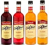 Da Vinci Syrup Variety 4 Pack of Raspberry, Strawberry, Peach, and Mango 750mL each (25.4 FL Oz)