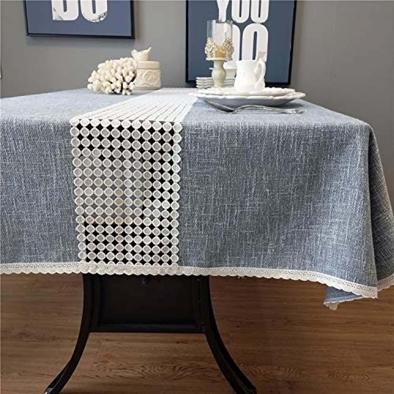 PEIWENIN Mantel Decorativo toallitas de Lino algodón rectángulo Pastoral Moda Mantel, 90  150CM, Azul
