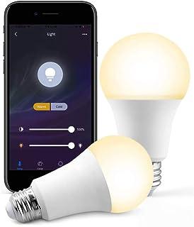 Bombilla de luz wifi inteligente, e27 b22 e26 RGB + CCT que cambia de color bombilla de luz regulable inteligente control de tiempo de voz con Alexa Google Home Assistant, no requiere concentrador