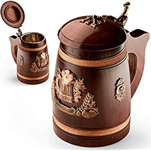 Handmade Beer Tankard with Lid - Stein is Large and Heavy Duty - Crafted from Solid Oak - Amazing Craftsmanship and Quality Materials - Mug is Lined with Stainless and Features - 500 ml (17 oz)