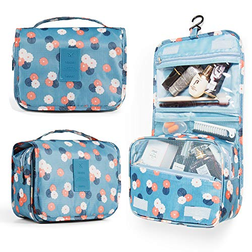 Multifunctional Lightweight Toiletry Bags Travel Cosmetic Bags For Women&Girls Waterproof Make Up Organizer with Sturdy Hook Portable Compact Bathroom Pouch with Large Capacity(Large Blue-Flowers)