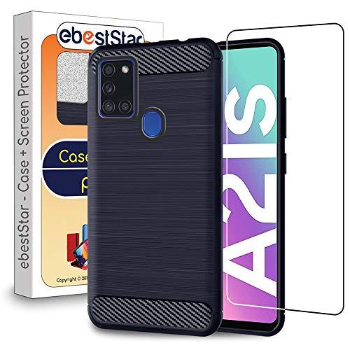 ebestStar - kompatibel mit Samsung Galaxy A21S Hülle Kohlenstoff Design Schutzhülle, TPU Handyhülle Flex Silikon Hülle, Dunkelblau + Panzerglas Schutzfolie [A21S: 163.7 x 75.3 x 8.9 mm, 6.5'']