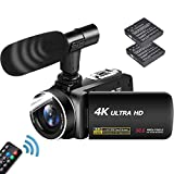 Videocámara 4K Cámara de Video Ultra HD 30MP 18X Zoom Digital Videocamara 3.0 Pulgadas Pantalla Táctil Giratoria Vlogging Cámara para Youtube con Micrófono, 2 Baterías, Luz De Relleno LED