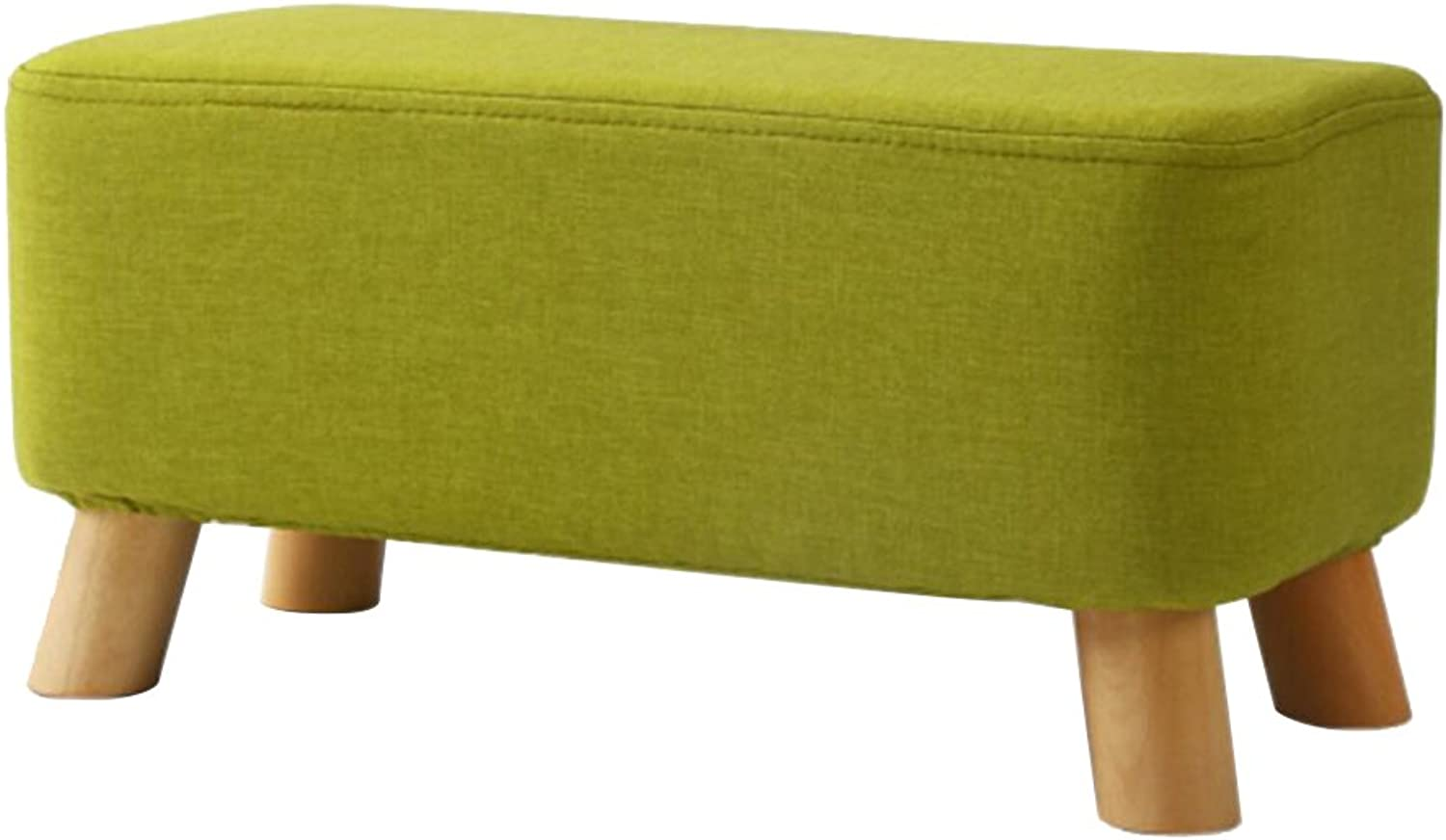 HQCC Bench Living Room Solid Wood Stool Simple Creative wear shoes Bench Fabric Sofa Bench Rectangular pier-Green (color   Green)